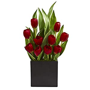 Nearly Natural 1693-RD Tulips Artificial Black Vase Silk Arrangements, Red 73