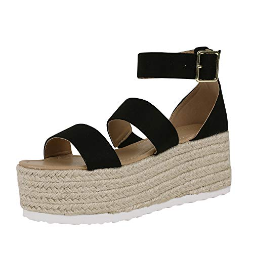 Women's Platform Wedge Espadrilles Elastic Band Scalloped Strap Animal Print Sandals with Buckle