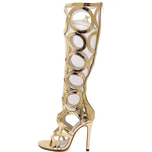 Azbro Mujer Zapatos Sandalias Rodilla Alta Hueco con Cremallera Tacones de Aguja Negro