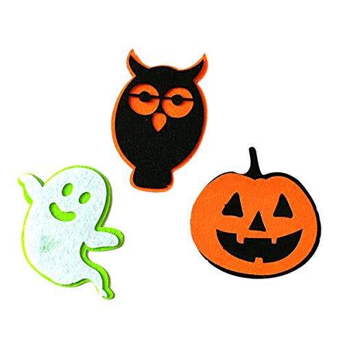 BESTOYARD 3pcs Halloween Nonwovens Patch Ghost Pumpkin Owl Patch Costume Badge for DIY Cosplay]()