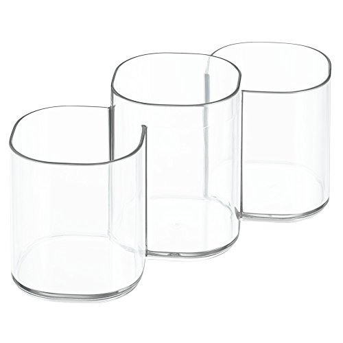 Lip Luxury Trio (InterDesign Clarity Cosmetics Organizer Trio Cup for Vanity Cabinet - Perfect Storage for Makeup Brushes and Beauty Products, Clear)