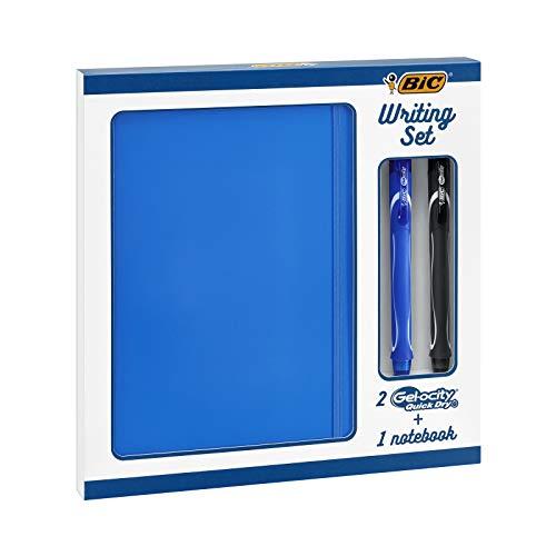 BIC Juego de Escritorio - 2 BIC Gel-ocity Quick Dry boligrafos de Gel de punta media (0,7mm) y 1 Libreta A5 Pautada, Set de Regalo, Pack de 3