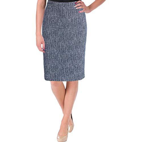 Hugo Boss BOSS Womens Vimena Tweed Slit Back Pencil Skirt Blue ()