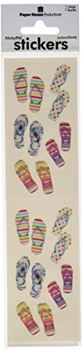 Paper House Productions ST-2209E Photo Real Stickypix Stickers, 2-Inch by 4-Inch, Flip Flops # (6-Pack)