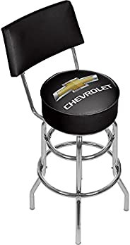 Trademark Global Chevrolet Padded Bar Stool with Back, Black/Silver