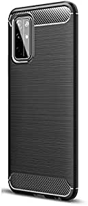 For Huawei Honor 30s Brushed Carbon Fiber All-Inclusive Anti-Fall Soft Case Cover-Black