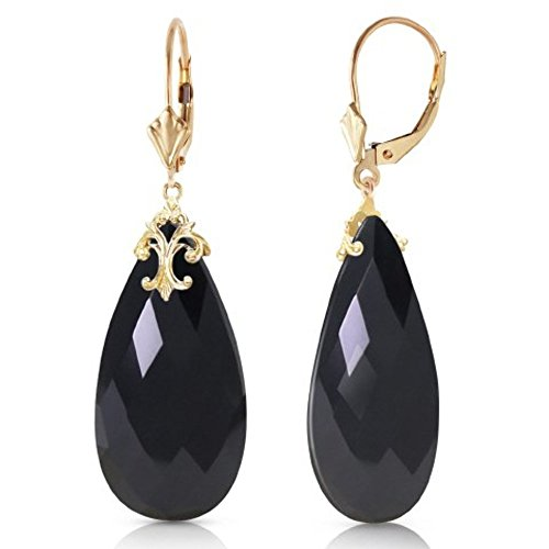 - 14k Yellow Gold Lever Back Earrings with Briolette 31x16 mm Black Onyx