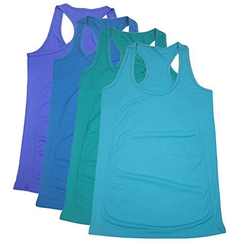 Semath Womens Lady Sleeveless Round-Neck Candy Vest Loose Tank Tops T-shirt, Blue/Dark Sky Blue/Aqua/Dark Turquoise, Large