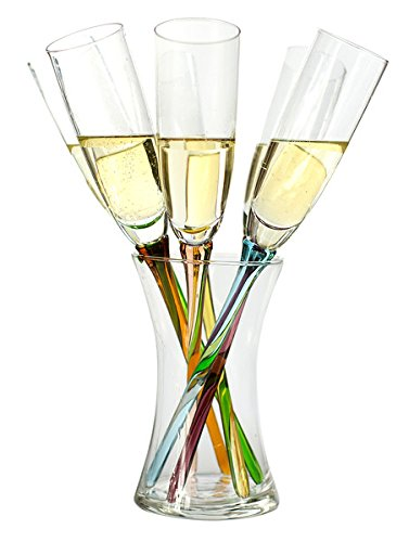 Modish Coloured Champagne Flutes With Vase Set Of Six Amazon