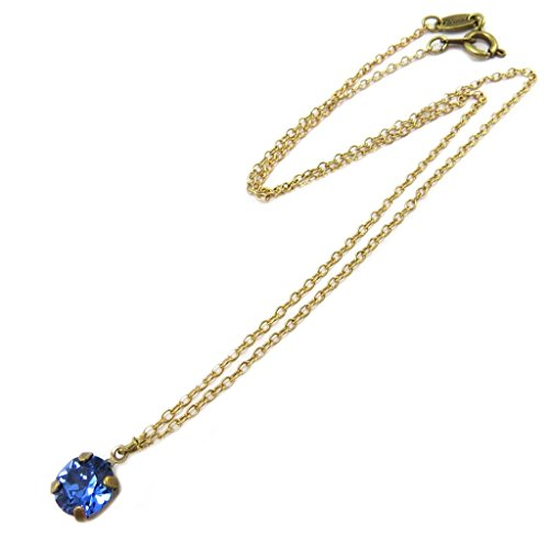[Handmade necklace 'Tsarine' golden sapphire blue - 8 mm (0.31'').] (Russian Princess Costumes)