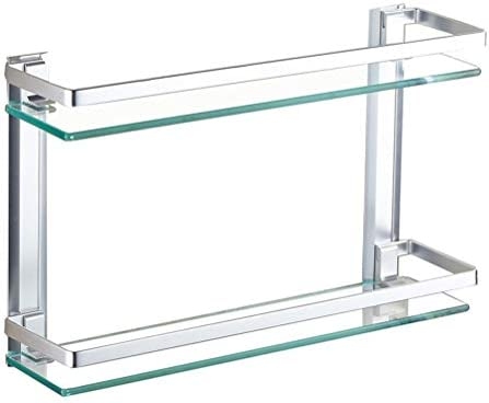Badkamer Hoek Plank Aluminium Planchet gehard glas rechthoekige Badkamer Frame Extra Thick HPYSJ821J Color2layers Size40cm