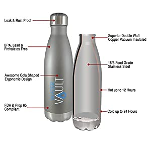 WaterVault Stainless Steel Thermo Water Bottle, Vacuum Insulated Double Walled, Keeps Hot to 12 Hours Cold to 36 Hours – BPA Free Cola Shaped Thermos Bottle(Matte Gray 1 Liter)