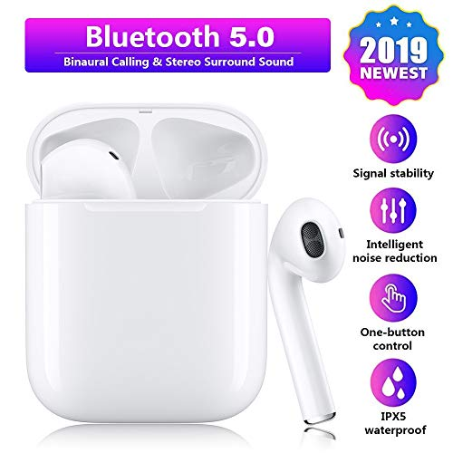 Bluetooth 5.0 Wireless Earbuds Noise Canceling Sports Headphones with【24 Hrs Charging Case】 IPX6 Waterproof TWS Stereo Earphones in-Ear Built-in HD Mic Headsets Pop-up Pairing for iPhone Android Apple