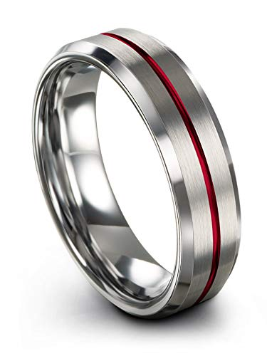 Chroma Color Collection Tungsten Carbide Wedding Band Ring 6mm for Men Women Red Center Line Grey Interior with Beveled Edge Brushed Polished Comfort Fit Anniversary Size 7