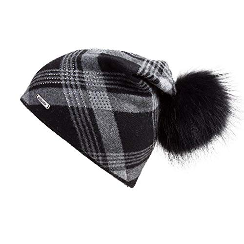 Oversized Cashmere Slouchy Beanie Hat with Puff Real Fur Pompom for Women Winter Warm Plaid Print Bobble ()