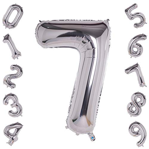 Silver Number 7 Balloons,40 Inch Birthday Number Balloon Party Decorations Supplies Helium Foil Mylar Digital Balloons (Silver Number 7)