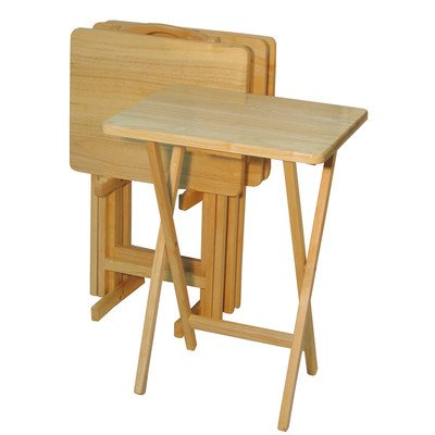 Wood 5 Piece Tv Tray (5-Piece Rectangular TV Tray Table Set)
