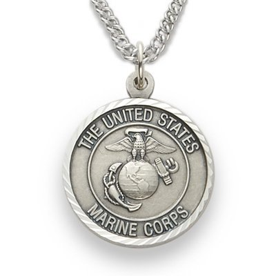 - Sterling Silver United States Marine Corps Medal with Saint Michael Back, 3/4 Inch
