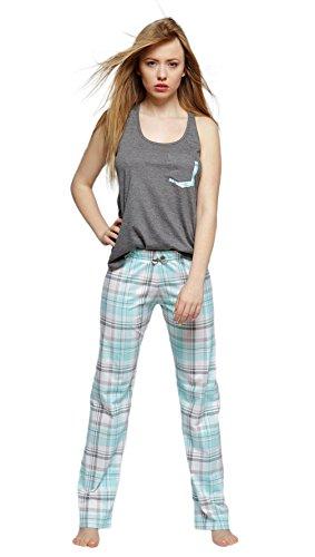 Sensis - Elegante pijama de algodón, compuesto de camiseta fina y pantalón cómodo: Amazon.es: Ropa y accesorios