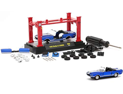 (M2 Machines 1968 Shelby GT500KR (Satin Blue with Bright White Stripes) 2016 Model Kit (Release 9) - 1:64 Scale Die-Cast Vehicle & Auto-Lift Building Set (R09 16-08))