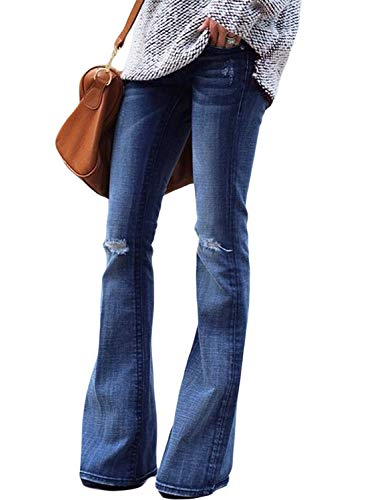 Jeans Flare Big - Sidefeel Women Ripped Flare Jeans Mid Rise Fitted Denim Pants Large Light Blue