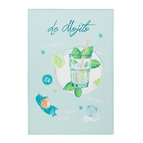 Coucke French Cotton Digitally Printed Towel French Cuisine Collection, Mojito, 20-Inches by 30-Inches, Blue and Green