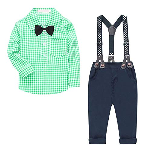 Baby Boy's 2 Pieces Tuxedo Outfit, Long Sleeves Plaids Button Down Dress Shirt with Bow Tie + Suspender Pants Set for Infant Newborn Toddlers, Green, for 2-3 Years = Tag Size 110