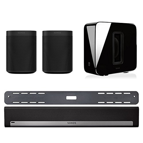 Sonos 5.1 Home Theater System with Sonos ONE (Pair), PLAYBAR with Wall Mount Kit, and SUB (Black) by Sonos
