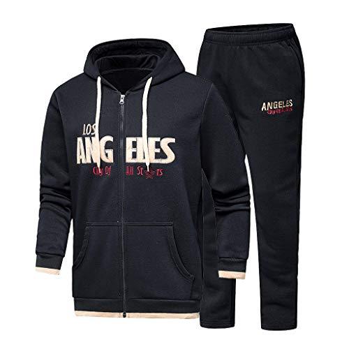 Wintialy Men's Autumn Winter Hooded Print Sweatshirt Top Pants Sets Sport Suit Tracksuit ()