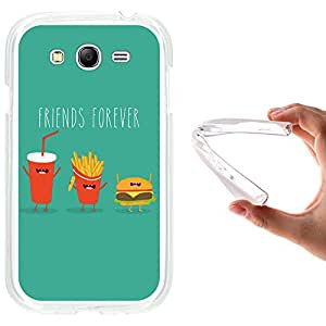Funda Samsung Galaxy Grand Neo, WoowCase [ Samsung Galaxy Grand Neo ] Funda Silicona Gel Flexible Friends Forever Hamburguesa Patatas y Cola, Carcasa Case TPU Silicona - Transparente