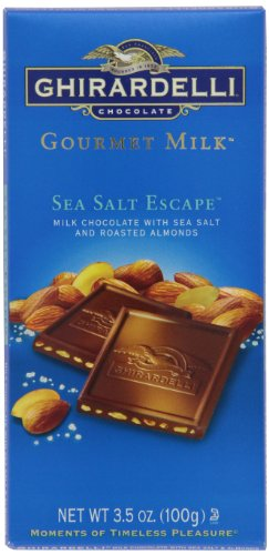 Ghirardelli Chocolate Gourmet Milk Bar, Sea Salt & Almonds Milk Chocolate, 3.5-Ounce Bars (Pack of 6) (Chocolate Milk Ghirardelli)