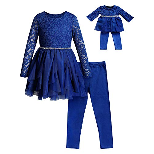 Dollie & Me Girls' Apparel Knit Legging Set with Matching Doll Outfit in, Blue, Size 10 -