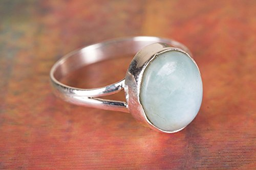 Larimar Ring, 925 Sterling Silver, Charm Ring, Designer Silver Ring, Hippie Ring, Vintage Ring, Genuine Jewelry, Indian Style, Awesome Ring, Girl Ring, Bezel Ring, Her, US Ring Size 3-15 (Standard) ()