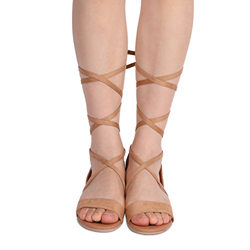 a95438d21c0f4 DREAM PAIRS Women's Formosa_3 Camel Low Platform Wedges Mid Calf Tie Up  Sandals Size 11 B