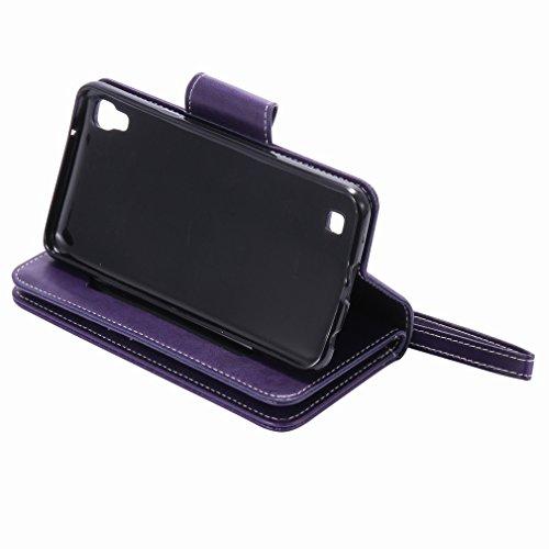 Yiizy LG X Power K220DS K220 Funda, Chica Repujado Diseño Solapa Flip Billetera Carcasa Tapa Estuches Premium PU Cuero Cover Cáscara Bumper Protector Slim Piel Shell Case Stand Ranura para Tarjetas Es