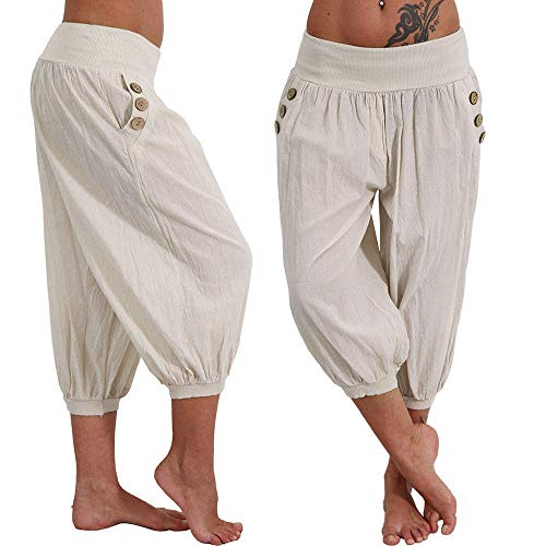 Women Yoga Pants, Elastic Waist Boho Check Baggy Wide Leg Casual Yoga Capris Pants by-NEWONESUN