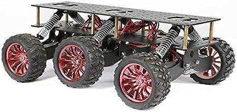 Mnjin Robot programable de Bricolaje Plataforma de Coche Inteligente de Bricolaje para Arduino Robot WiFi Car, chasis de Campo a través de Robot de Metal 6WD, diseño de amortiguación Chasis