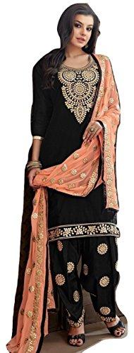 Kameez Indian Suit - PAKINDI FASHION ramzan eid speial Pakistani Salwar Kameez for Women Punjabi Patiyala Indian Suit (Black)