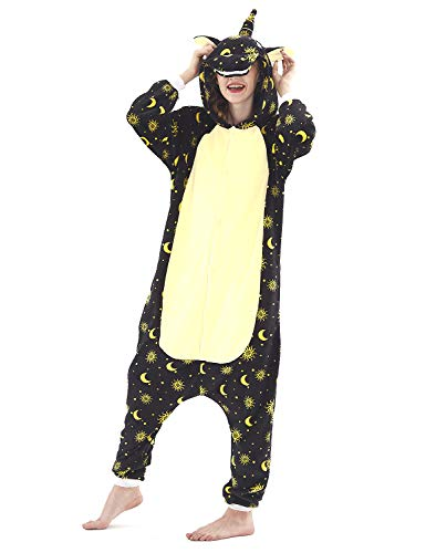 (Adult Pajamas Unisex Sleepsuit Animal Sleepwear Jumpsuit Halloween Cosplay Costume (S (Height 151-160 cm), Black)