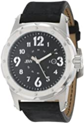 JBW Men's Stainless Steel and Leather Diamond-Accented Watch
