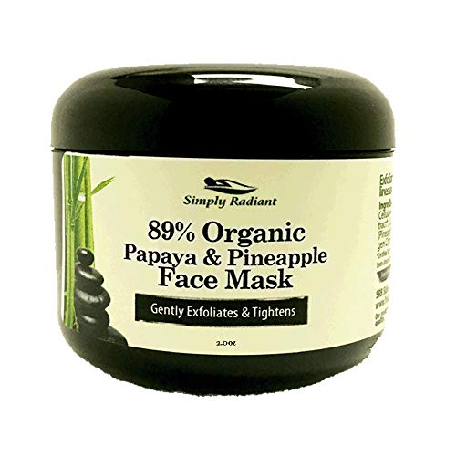 Organic Vegan Papaya and Pineapple Enzyme Face Mask - Hydrates, Tones, Moisturizes, Exfoliates & Rejuvenates - Ideal for Sensitive Facial Skin - Simply Radiant