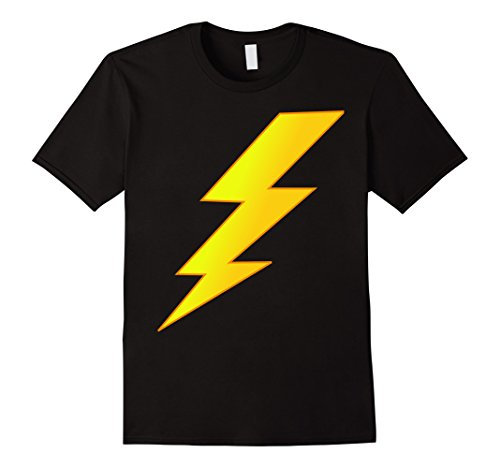 [Men's Lightning Bolt last minute Halloween costume shirt XL Black] (Lightning Bolt Costumes)