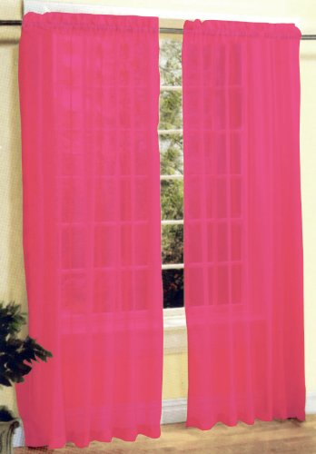 New 2 Pcs Sexy Sheer Voile Window Curtain Panel Set (Rose Panel)