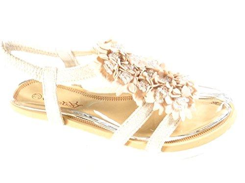 King Of Shoes Bequeme Flache Sommer Damen Riemchen Sandalen T-Riemen Sandaletten Blumen TG Beige 1