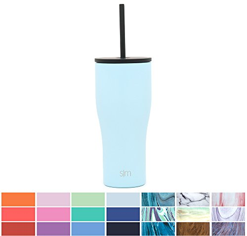 Simple Modern 20oz Journey Tumbler Mug with Straw Lid and Flip Lid - Vacuum Insulated Travel Mug Flask 18/8 Stainless Steel Hydro Thermos Cup - Robins Egg