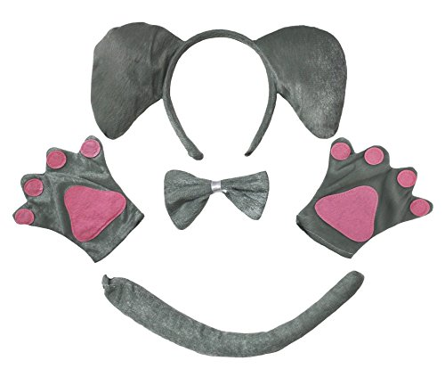 Petitebella Elephant Headband Bowtie Tail Gloves 4pc Children Costume (Grey) -
