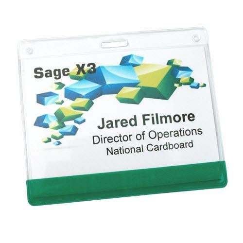 (Name Badge Productions - 4 x 3 Inch Name Badge Holder - Color Bar - Reinforced 1/2 Inch Slot - Top Loading - Reusable and Durable Polyvinyl - 50 per Package (Yellow))
