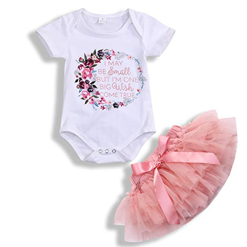 Newborn Baby Toddler Girls Summer Outfits Floral Letters Print Cotton Romper Top+Lace Tutu Skirt Short Set (12-18 Months, Floral Romper+ Pink Tulle Short Set)