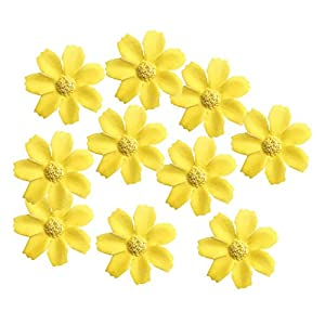 KODORIA 100pcs Artificial Flower Heads Silk Daisy Flower Heads for DIY Baby Shower, Home Party Wedding Favor Decoration DIY Craft Fake Flowers - Yellow 29