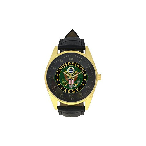 Men's Golden Leather Strap Watch U-S army logo eagle united Pattern ()